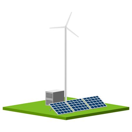 Solar and wind power plant. Vector illustration design Illustration