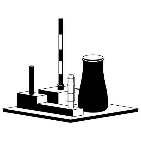 Monochromatic nuclear power plant. Vector illustration design