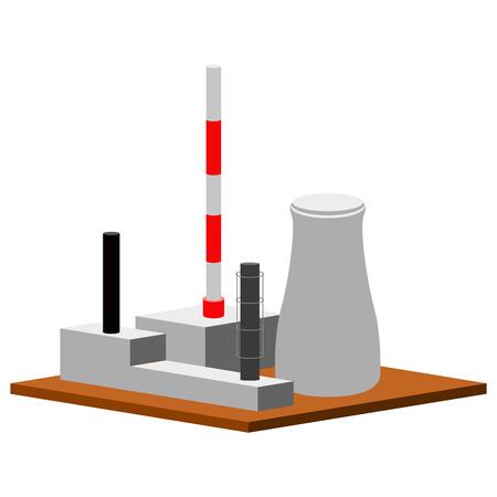 Centrale nucléaire isolée. Conception d'illustration vectorielle