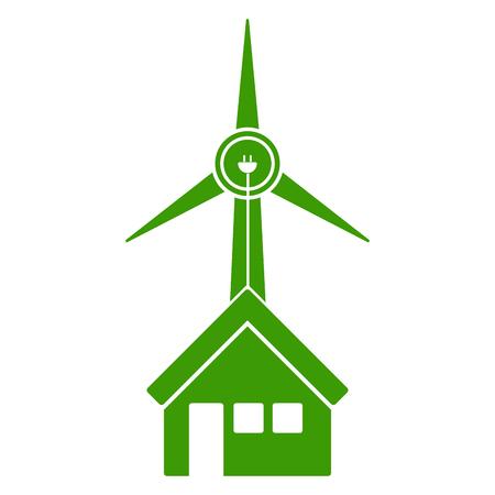 Windmill in a house icon. Vector illustration design Ilustrace