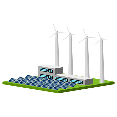 Isolated wind and solar power plant. Vector illustration design Çizim