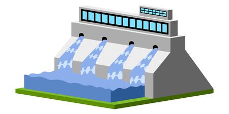 Immagine della centrale idroelettrica isolata. Disegno di illustrazione vettoriale Vettoriali