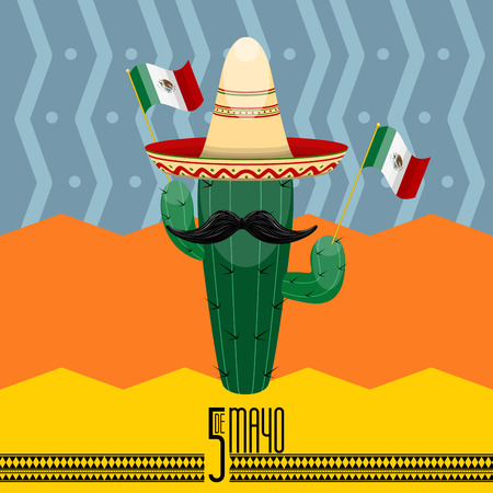 Cinco de mayo poster with a cactus cartoon. Vector illustration design Illustration