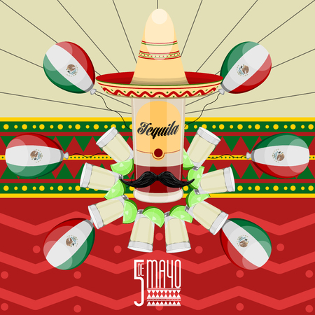 Cinco de mayo poster with a tequila bottle and ballons. Vector illustration design Illustration