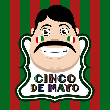 Cinco de mayo poster with a mexican man. Vector illustration design Illustration