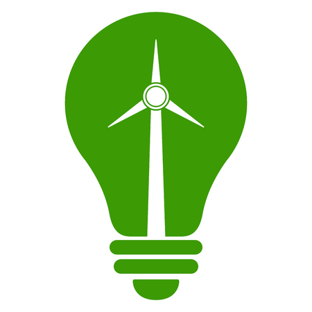 Isolated light bulb icon with a windmill. Vector illustration design