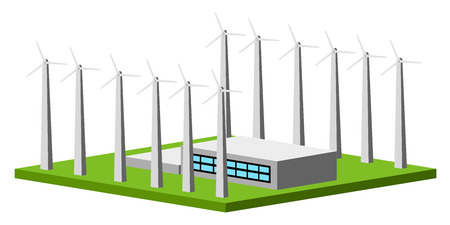 Isolated wind power plant. Vector illustration design
