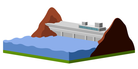 Isolated hidropower plant image. Vector illustration design Ilustração