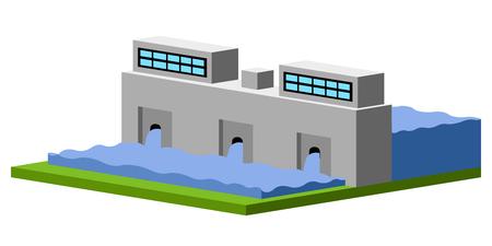 Isolated hidropower plant image. Vector illustration design Illustration