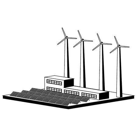 Monochromatic wind and solar power plant. Vector illustration design