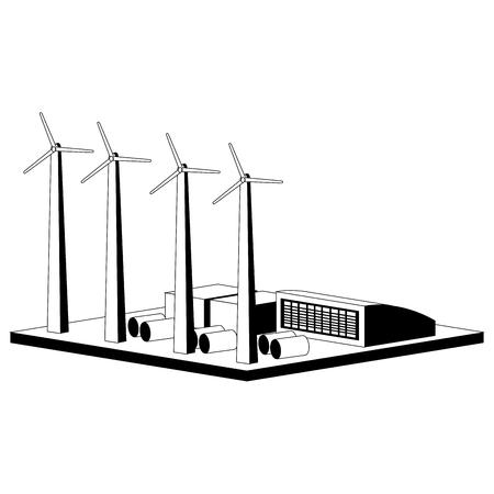Monochromatic wind power plant. Vector illustration design Ilustrace