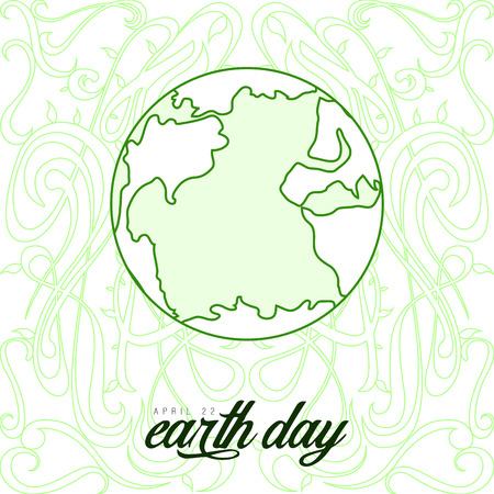 Sketch of Earth on an ornamented background. Earth day. Vector illustration design