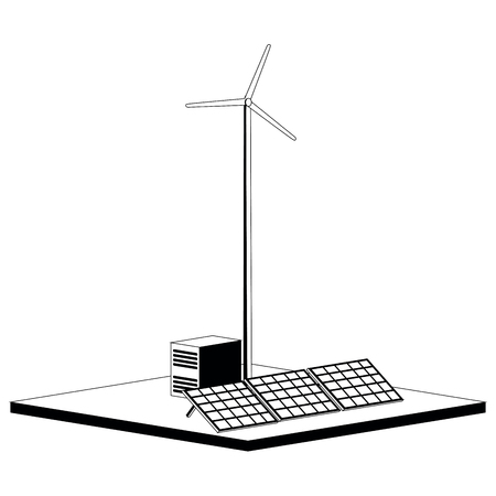 Monochromatic wind and solar power plant. Vector illustration design