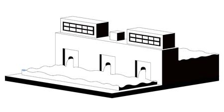 Monochromatic hidropower plant image. Vector illustration design