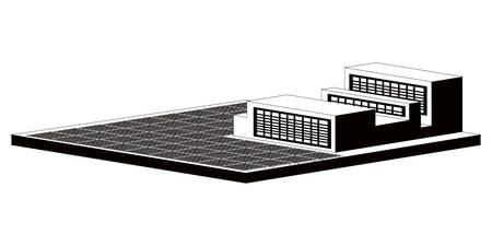 Monochromatic solar power plant. Vector illustration design 向量圖像