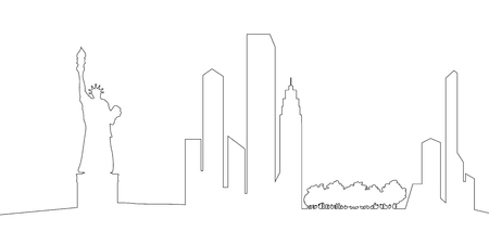 Outline of a New York cityscape. Vector illustration design