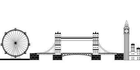 Monochromatic London cityscape image. Vector illustration design