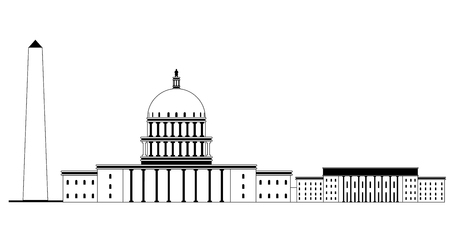 Monochromatic Washington cityscape image. Vector illustration design Illustration