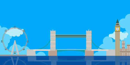 Colored London cityscape image. Vector illustration design