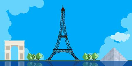 Imagen coloreada del paisaje urbano de París. Diseño de ilustración vectorial Ilustración de vector