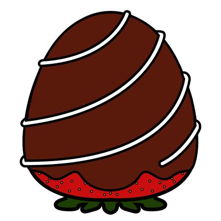 Erdbeere mit Schokoladensymbol bedeckt. Vektorillustrationsdesign