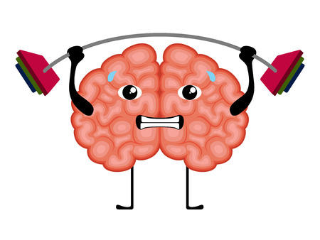 Isolated brain cartoon weightlifting. Vector illustration design Illustration