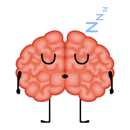 Isolated sleepy brain cartoon. Vector illustration design