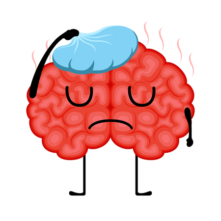 Isolated sick brain cartoon. Vector illustration design Illustration