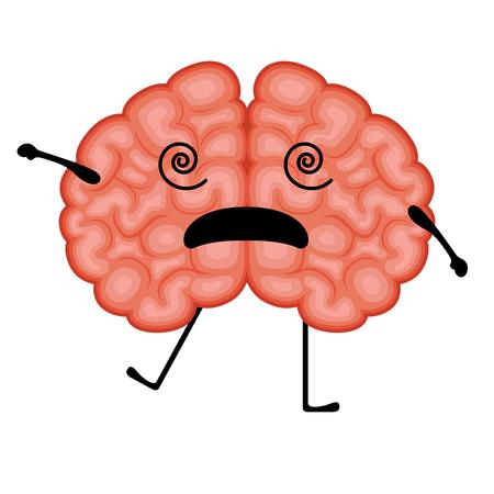 Isolated stunned brain cartoon Ilustração