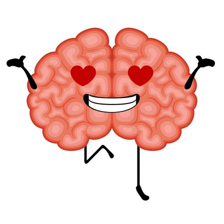 Happy brain cartoon in love. Vector illustration design