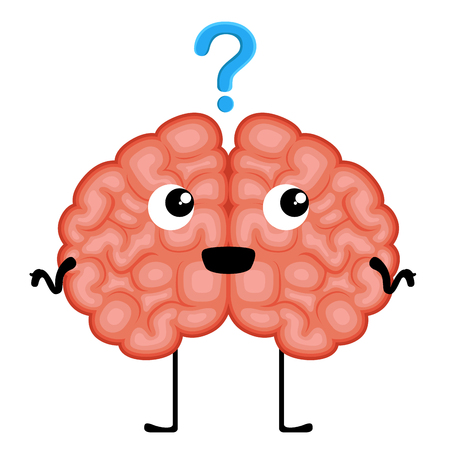Happy brain cartoon with a question mark. Vector illustration design Illustration