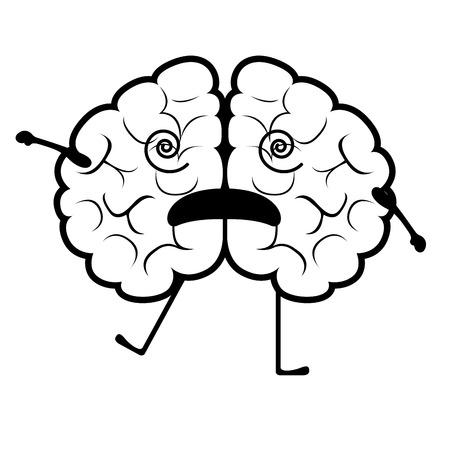 Isolated stunned brain cartoon. Vector illustration design