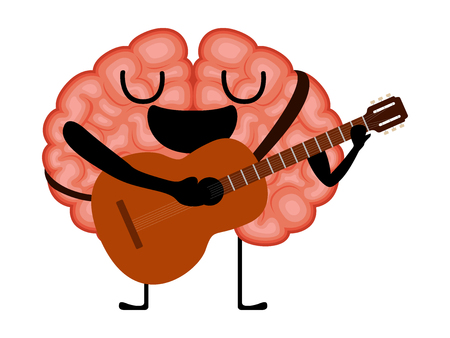 Happy brain cartoon with a guitar. Vector illustration design Çizim