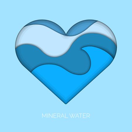 Affiche d'eau minérale avec des vagues dans un coeur. Conception d'illustration vectorielle Vecteurs