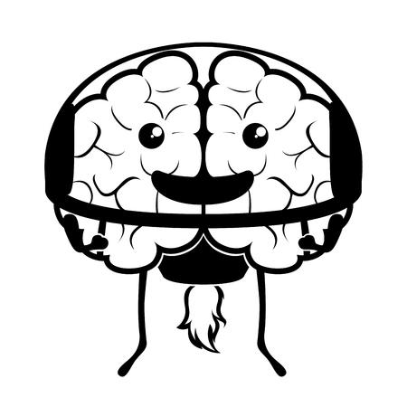 Happy brain cartoon with an astronaut equipment. Vector illustration design