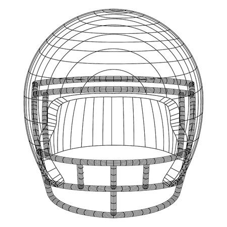 American football helmet. Line drawing. Vector illustration design