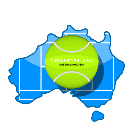 Tennis ball with text on a map of Australia. Vector illustration design