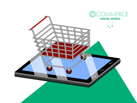 3d shopping cart on top of a tablet. Ecommerce. Vector illustration design Vettoriali