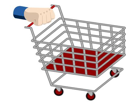 3d hand holding a shopping cart. Vector illustration design