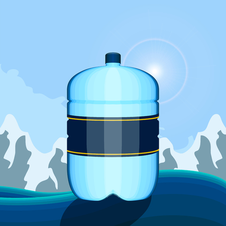Mineral water poster with a water big bottle. Vector illustration design