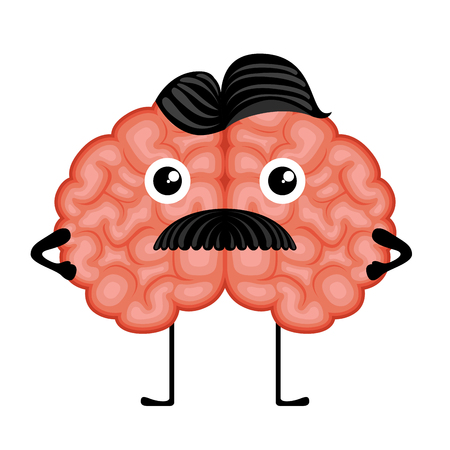 Isolated gentleman brain cartoon. Vector illustration design