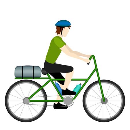 Turista de bicicleta macho aislado montando su bicicleta