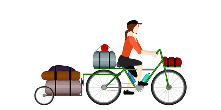 Isolated woman bicycle tourist riding a bike - Vector Çizim