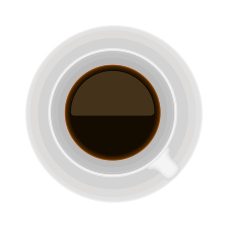 Top view of a coffee cup on white background Vector Illustratie