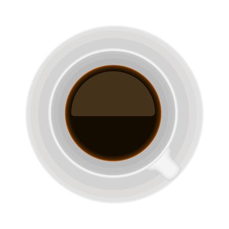 Vista superior de una taza de café sobre fondo blanco. Ilustración de vector