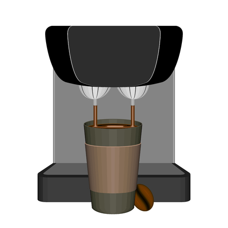 Express coffee maker with a plastic cup - Vector