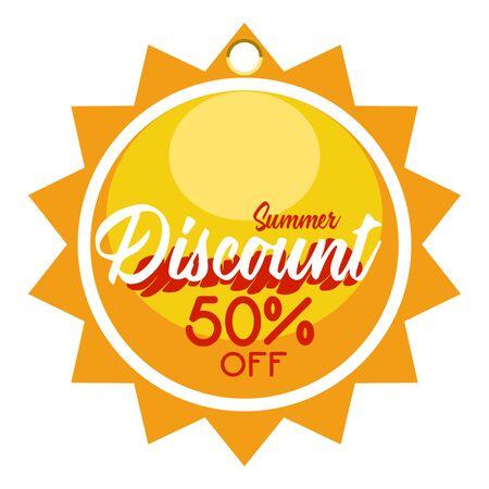Sun shaped summer sale discount label Ilustração