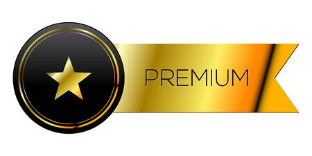 Isolated golden premium label Ilustração