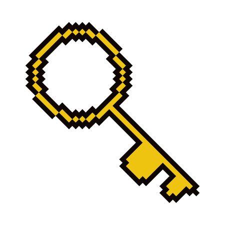 Isolted antique key pixelated icon