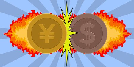 Yuan coin and dollar coin hitting each other. Trade war - Vector